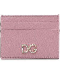 Dolce & Gabbana Кредитница Из Кожи С Логотипом - Розовый