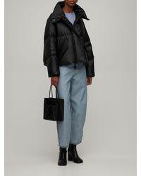 MM6 by Maison Martin Margiela Faux Leather Crop Down Jacket - Black