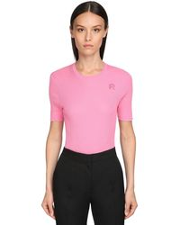 Rochas Embroidered Cotton T-shirt - Pink