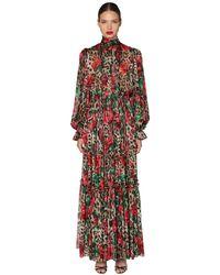 Dolce & Gabbana Jumpsuit De Chifón Stretch Con Estampado - Rojo