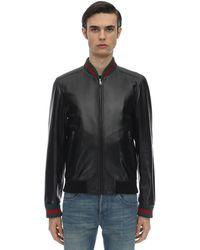 Gucci Leather Jacket W/ Web Detail - Black