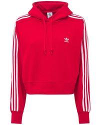 adidas Originals Sweat-shirt Court À Capuche Avec Logo - Rouge