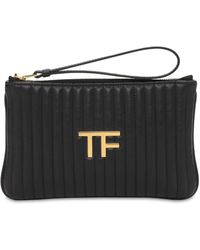 Tom Ford Tf キルテッドレザーポーチ - ブラック