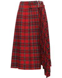 Noir Kei Ninomiya Pleated Wool Blend Tartan Midi Skirt - Red