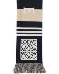 Loewe Schal Aus Baumwolle Mit Stadiumlogo - Blau