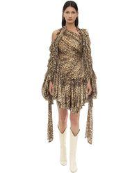 Zimmermann - Animal Print Crepe De Chine Mini Dress - Lyst