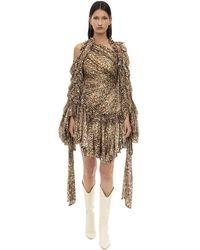 Zimmermann Vestido De Crepe De Chine Con Estampado Animal - Multicolor