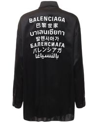 Balenciaga - Fluid Silk Satin Shirt W/back Logo - Lyst