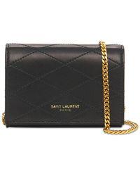 Saint Laurent Baby Flap Quilted Leather Bag - Black
