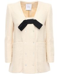 Patou Jacke Aus Baumwollmischtweed Mit Schleife - Weiß