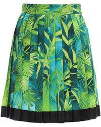 Versace Pleated Jungle Print Twill Mini Skirt - Зеленый
