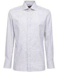 Tom Ford Рубашка Из Хлопка В Клетку - Серый