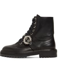 Jimmy Choo 30mm Cora Leather Combat Boots - Black