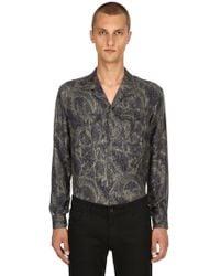 Etro - Paisley Printed Fluid Silk Pajama Shirt - Lyst