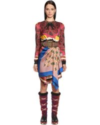 Etro - Draped Asymmetric Printed Satin Dress - Lyst
