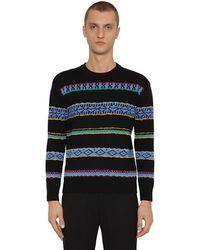KENZO ウール インターシャセーター - ブラック