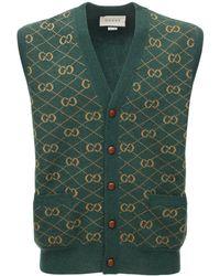 Gucci Трикотажный Жилет С Узором GG - Зеленый