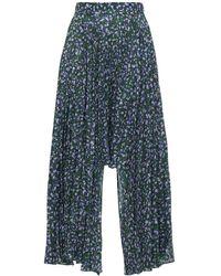 ROKH Asymmetrical Pleated Floral Print Skirt - Blue