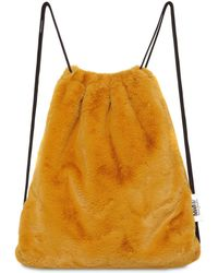 MM6 by Maison Martin Margiela Faux Shearling Drawstring Backpack - Yellow