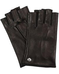 Mario Portolano Fingerless Leather Gloves - Black