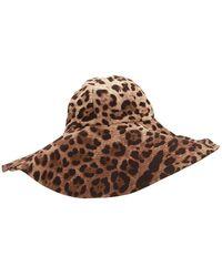 Dolce & Gabbana ストレッチカディ レオパード帽 - ブラウン