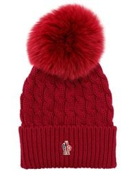 c28f61fe0 Wool Cable Knit Hat W/ Pom Pom - Purple