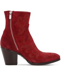 Rocco P 70mm Embroidered Suede Ankle Boots