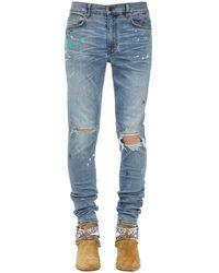 Amiri 15cm Paint Splatter Cotton Denim Jeans - Blue
