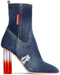 DSquared² 90mm Denim Ankle Boots - Blue