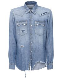 Department 5 Distressed Cotton & Linen Denim Shirt - Blue