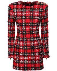Balmain Tartan Tweed & Lurex Mini Dress - Red