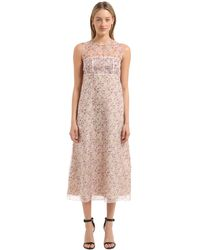 CALVIN KLEIN 205W39NYC Floral Printed Silk Dress - Pink