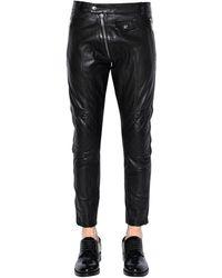 DSquared² Pantalon Biker En Cuir 15Cm - Noir