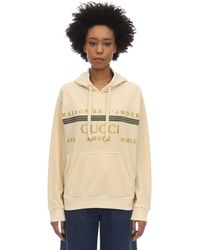 Gucci Embroidered Cotton Blend Chenille Hoodie - White