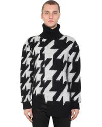 Alexander McQueen モヘア混 オーバーサイズジャカードセーター - ブラック