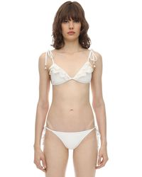 Zimmermann Kira Lycra Bikini W/ Laser Cut Ruffle - White