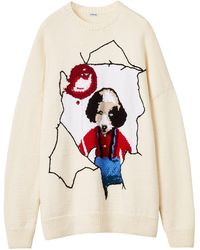 Loewe Intarsia Puppy Wool Blend Knit Jumper - Multicolour