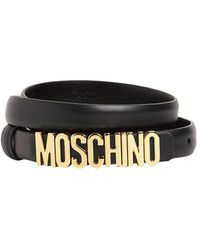 Moschino Cinturón De Piel Con Logo Dorado 2cm - Negro