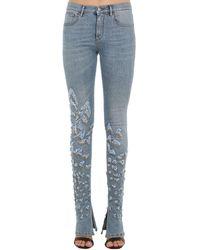 Roberto Cavalli Embellished Flared Stretch Denim Jeans - Blue