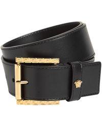 Versace 4cm Breiter Ledergürtel Mit Trigreca-fdetails - Schwarz