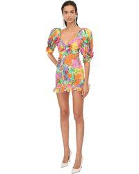 Alessandra Rich Короткое Платье Из Органзы С Принтом - Многоцветный