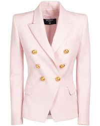 Balmain Zweireihiger Blazer Aus Wolle - Pink