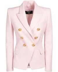 Balmain Double Breast Wool Blazer - Pink