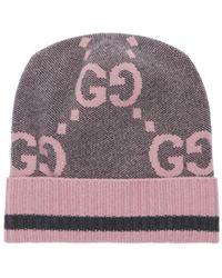 Gucci Strickmütze Aus Kaschmir Mit Gg-motiv - Mehrfarbig