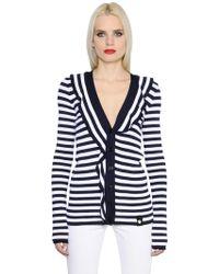 Sonia Rykiel - Ruffled Striped Knit Cardigan - Lyst