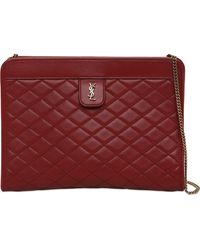Saint Laurent Victoire Baby Quilted Leather Clutch - Red