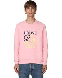 Loewe Anagram Embroidery Cotton Crewneck - Pink