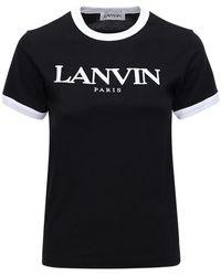 Lanvin T-shirt En Jersey De Coton Avec Logo - Noir