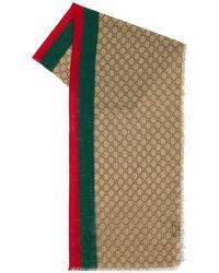 Gucci Stola Aus Wolle Mit Gewebe - Natur