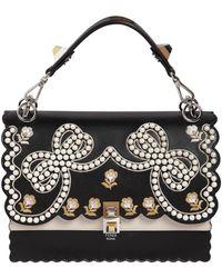 Fendi - Medium Kan I Embellished Leather Bag - Lyst